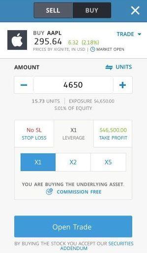 Mua bán trong ứng dụng etoro