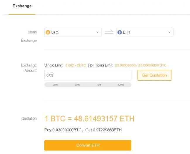 Tính năng hoán đổi tài sản tại ByBit (Chuyển đổi BTC)