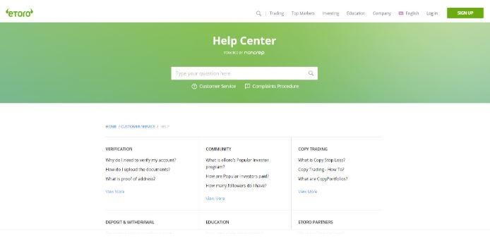 Trung tâm trợ giúp etoro