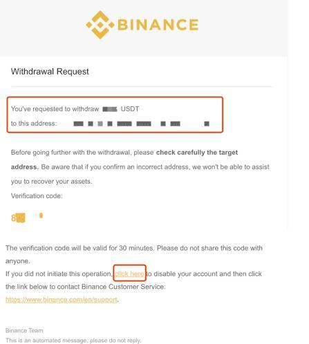 xác minh yêu cầu rút tiền từ email được liên kết với tài khoản Binance